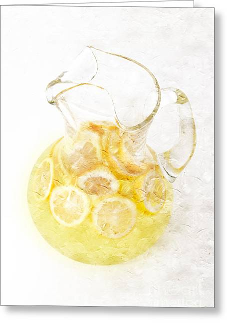 Sour Greeting Cards - Glass Pitcher of Lemonade Greeting Card by Andee Design