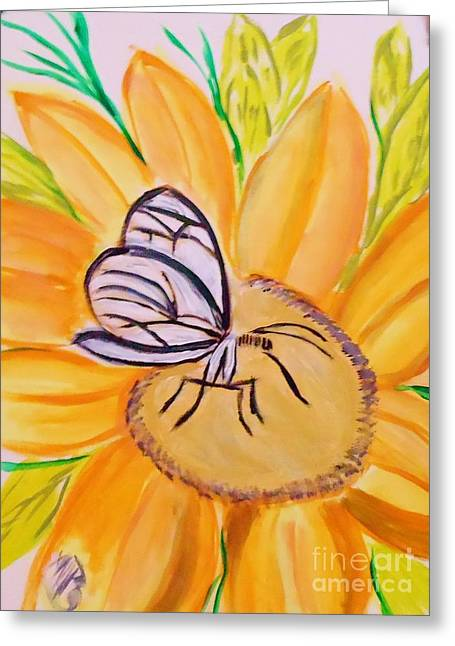 Glass Winged Butterfly Greeting Card by Marie Bulger