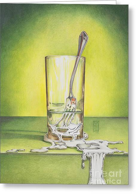 Drawings Greeting Cards - Glass with Melting Fork Greeting Card by Melissa A Benson