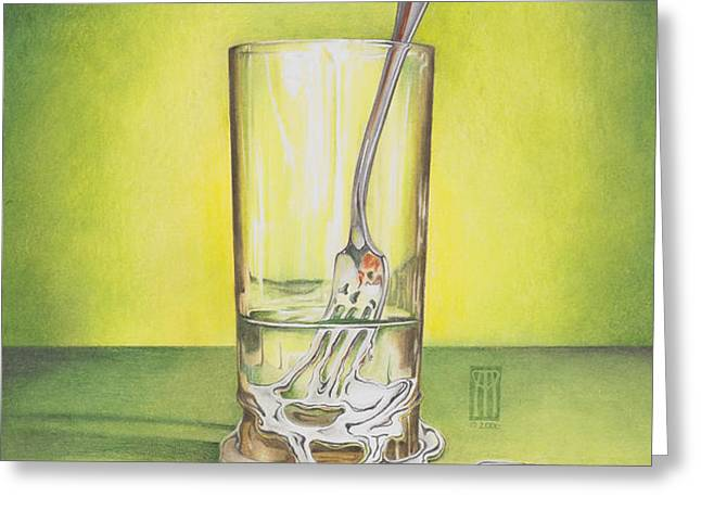 Glass with Melting Fork Greeting Card by Melissa A Benson