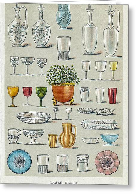 Tumbler Greeting Cards - Glassware, Historical Artwork Greeting Card by Mid-manhattan Picture Collectionglassnew York Public Library