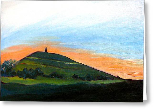 Tor Paintings Greeting Cards - Glastonbury Tor Sunrise Greeting Card by Susan Tower