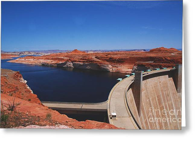 Deep Blue River Greeting Cards - Glen Canyon Dam at Lake Powell by Page Arizona Greeting Card by Susanne Van Hulst