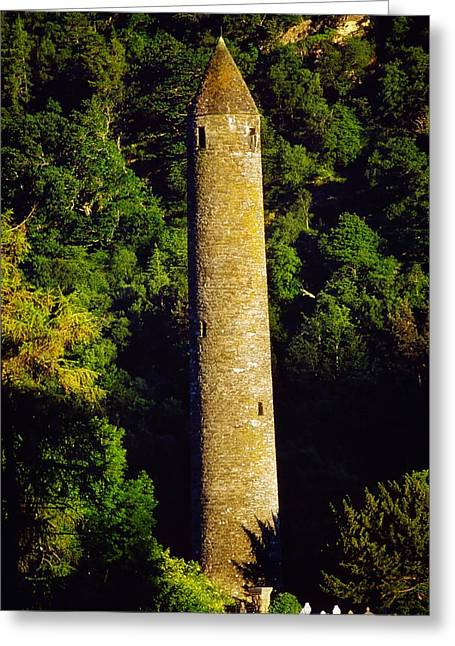 Historic Site Greeting Cards - Glendalough, Co Wicklow, Ireland Round Greeting Card by The Irish Image Collection
