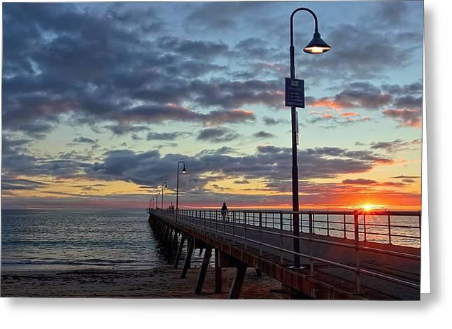 Sout Greeting Cards - Glenelg Sunset Greeting Card by Paul Svensen