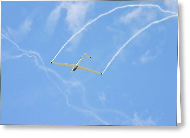 Aero Greeting Cards - Glider Aerobatics Against Blue Sky Canvas Poster Photo Print Greeting Card by Keith Webber Jr