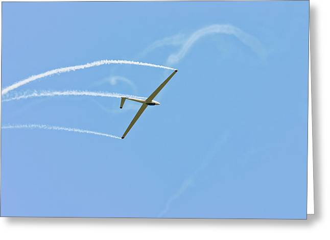 Aero Greeting Cards - Glider Flying Aerobatics At Airshow Phot Canvas poster Print Greeting Card by Keith Webber Jr