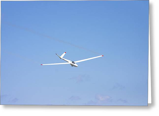 Glider Greeting Cards - Glider Flying In Blue Sky Canvas Photo Poster Print Greeting Card by Keith Webber Jr