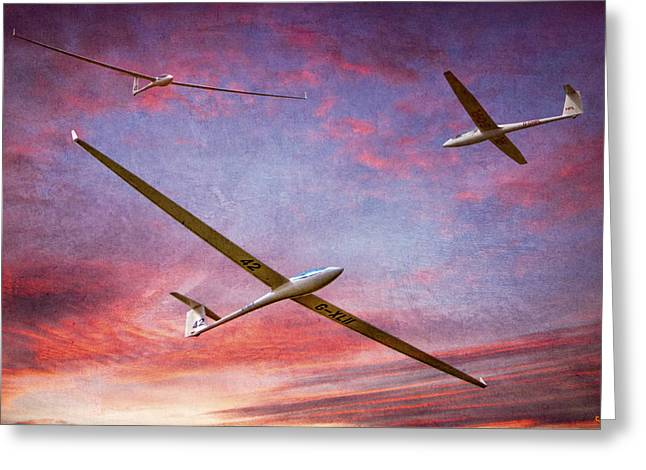 Glider Greeting Cards - Gliders Over The Devils Dyke At Sunset Greeting Card by Chris Lord