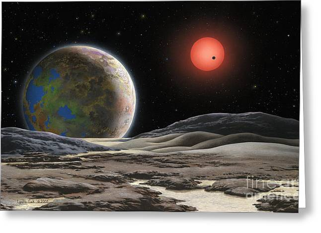 Planetary System Paintings Greeting Cards - Gliese 581 c Greeting Card by Lynette Cook
