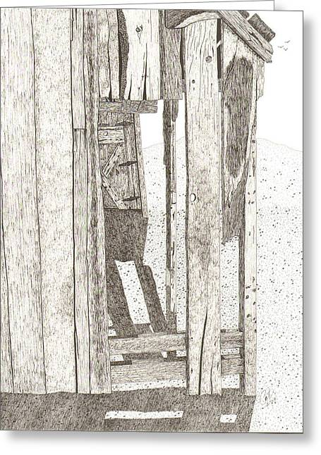 Dilapidated Drawings Greeting Cards - Glimpse Greeting Card by Pat Price
