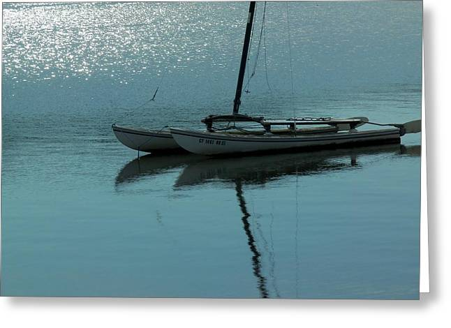 Boats In Reflecting Water Greeting Cards - Glistening Sea Greeting Card by Jan Moore