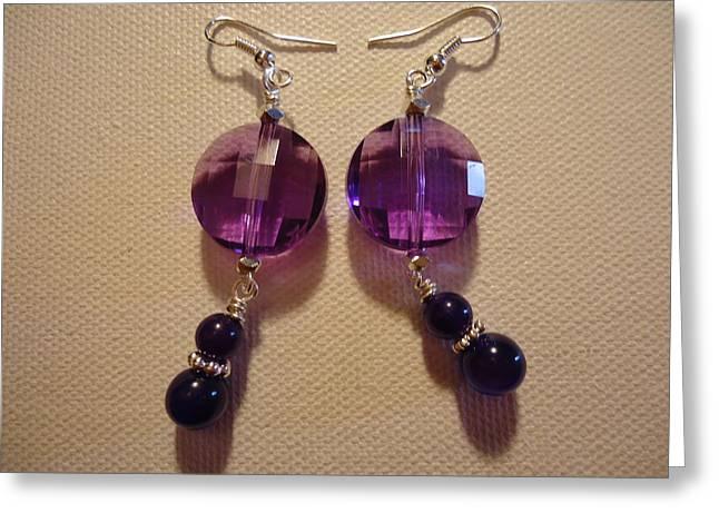 Glitter Me Purple Earrings Greeting Card by Jenna Green