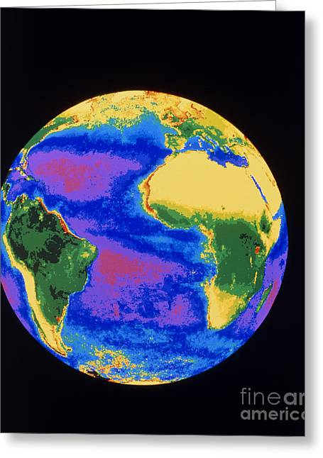 Nimbus-7 Imagery Greeting Cards - Global Biosphere, Atlantic Ocean Greeting Card by Dr. Gene Feldman, NASA Goddard Space Flight Center