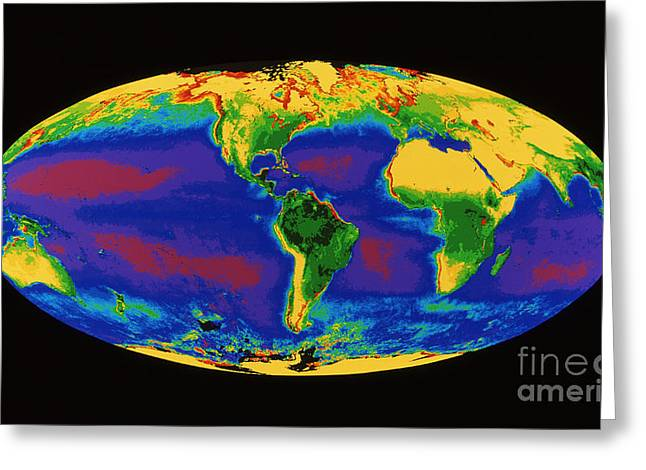 Czcs Imagery Greeting Cards - Global Biosphere Greeting Card by Dr. Gene Feldman, NASA Goddard Space Flight Center