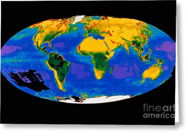 Planet Earth Greeting Cards - Global Biosphere Greeting Card by Nasa