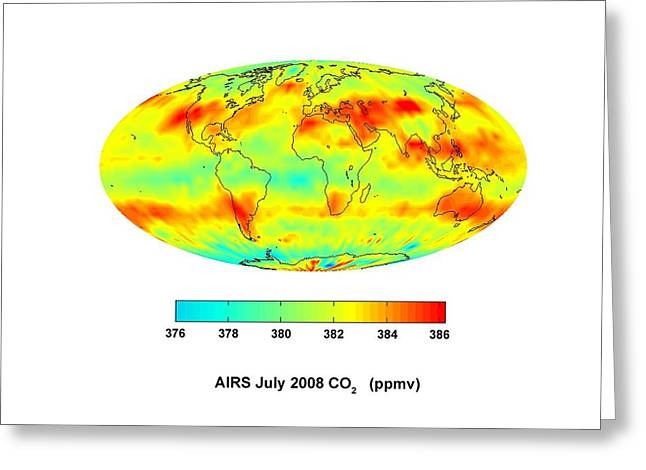Planet Map Greeting Cards - Global Carbon Dioxide Transport, 2008 Greeting Card by Nasajpl