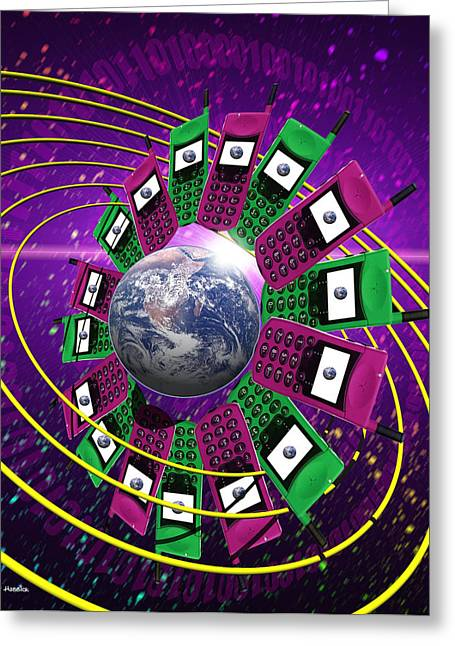 Cellphone Greeting Cards - Global Communication Greeting Card by Victor Habbick Visions