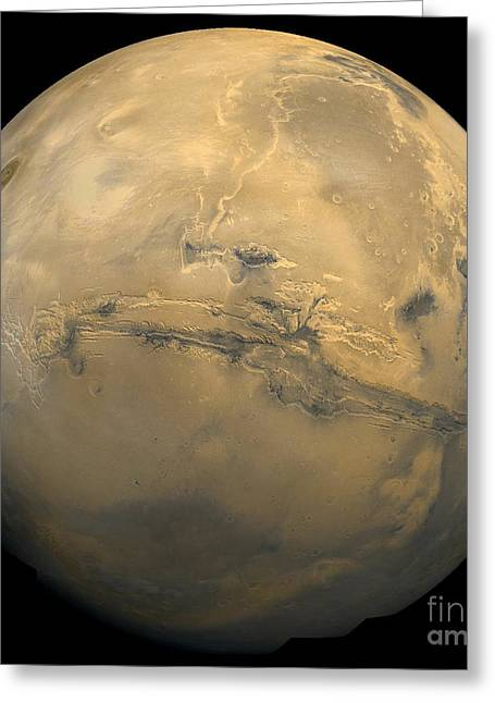Martians Greeting Cards - Global Mosaic Of Mars Greeting Card by Stocktrek Images