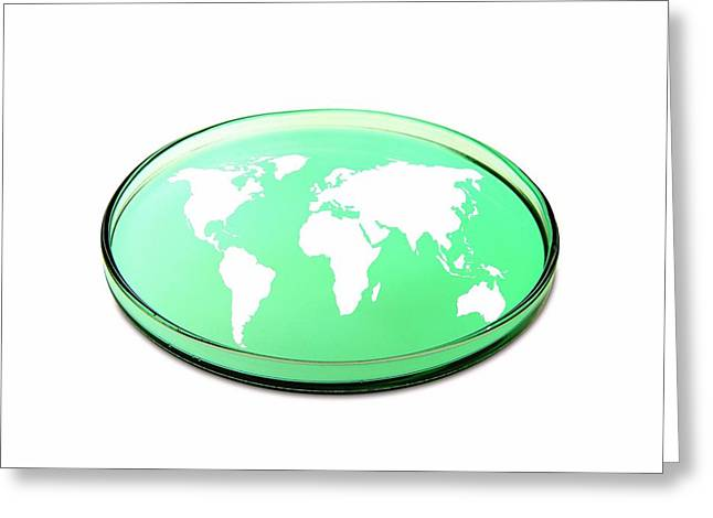 Planet Map Greeting Cards - Global Research, Conceptual Image Greeting Card by Victor De Schwanberg