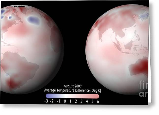 Anomalies Greeting Cards - Global Temperature Anomaly, 2009 Greeting Card by Science Source