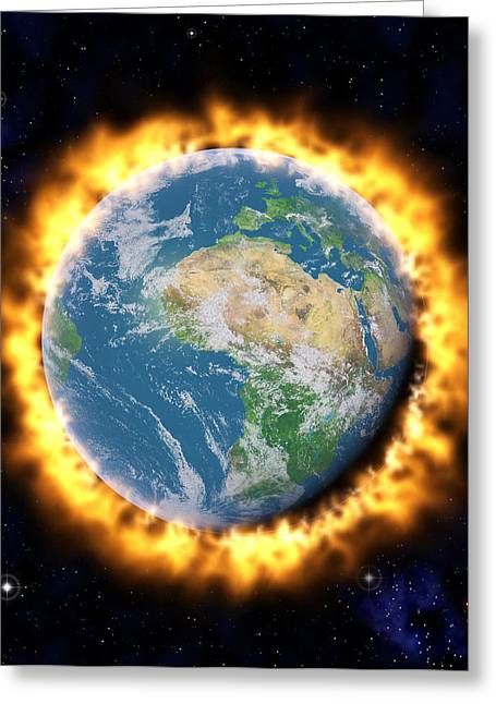 Overheating Greeting Cards - Global Warming Greeting Card by Roger Harris
