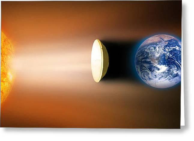 Future Tech Photographs Greeting Cards - Global Warming Sun Shield, Artwork Greeting Card by Victor De Schwanberg