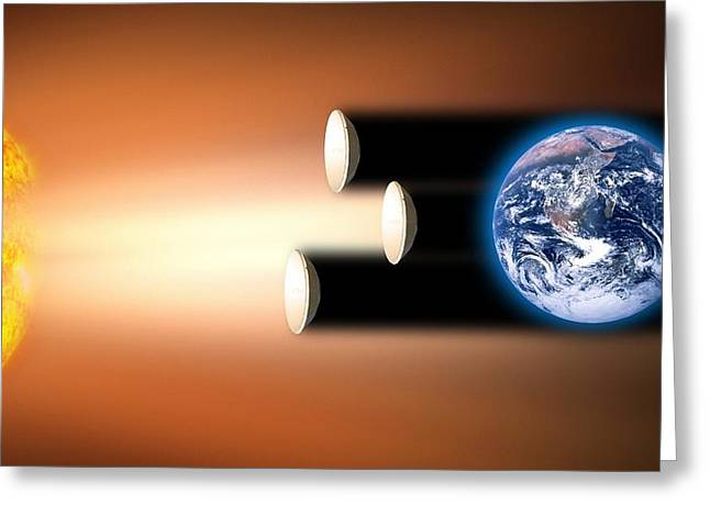 Future Tech Photographs Greeting Cards - Global Warming Sun Shields, Artwork Greeting Card by Victor De Schwanberg