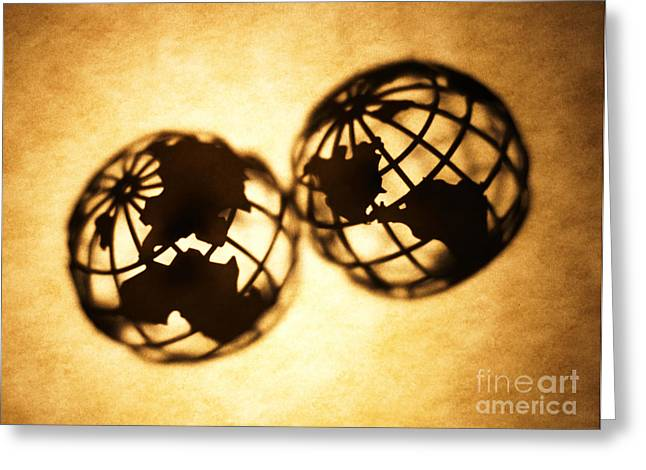 Silhouettes Greeting Cards - Globe 2 Greeting Card by Tony Cordoza