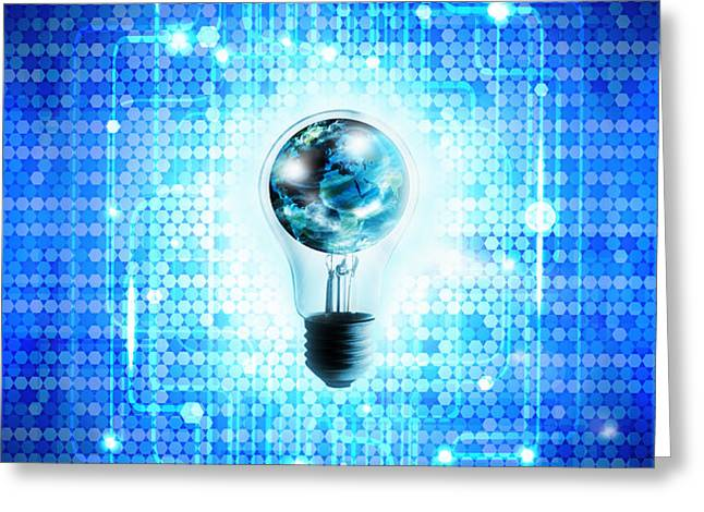 globe and light bulb with technology background Greeting Card by Setsiri Silapasuwanchai