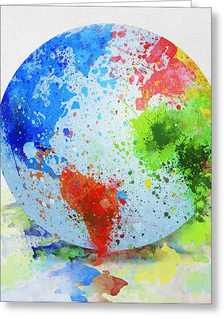 Longitude Greeting Cards - Globe Painting Greeting Card by Setsiri Silapasuwanchai