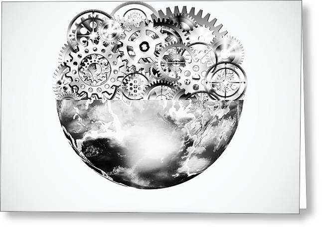 Meshed Greeting Cards - Globe With Cogs And Gears Greeting Card by Setsiri Silapasuwanchai
