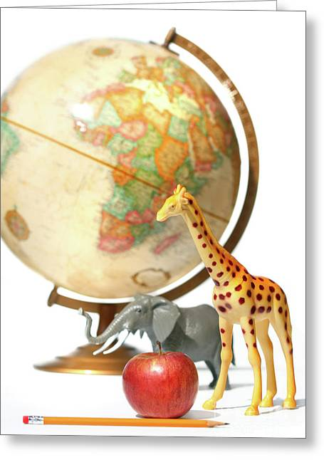 Toy Animals Greeting Cards - Globe with toys animals on white Greeting Card by Sandra Cunningham
