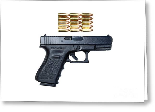 Glock Model 19 Handgun With 9mm Greeting Card by Terry Moore