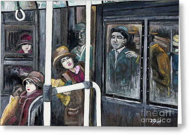Film Noir Paintings Greeting Cards - Gloria Swanson in Subway Scene From Manhandled Greeting Card by Reb Frost