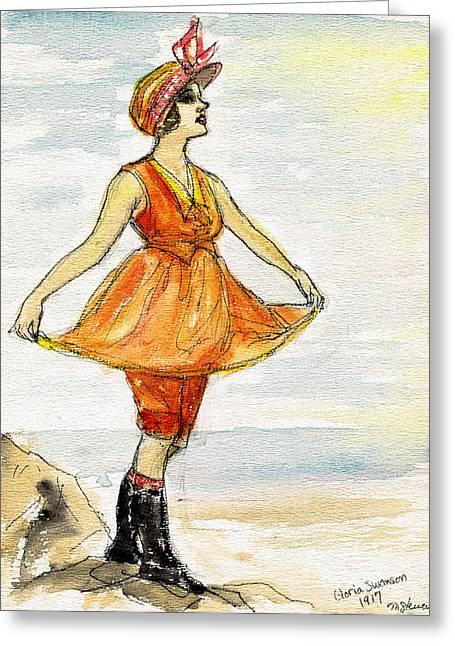 California Beach Art Drawings Greeting Cards - Gloria Swanson Greeting Card by Mel Thompson