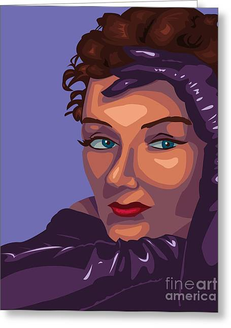 1950s Portraits Paintings Greeting Cards - Gloria Greeting Card by Whitney Morton