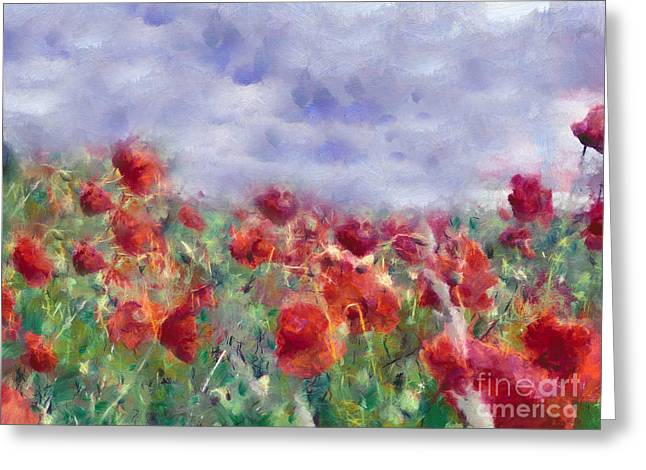 Zeana Romanovna Greeting Cards - Glorious Poppy Field Greeting Card by Georgiana Romanovna