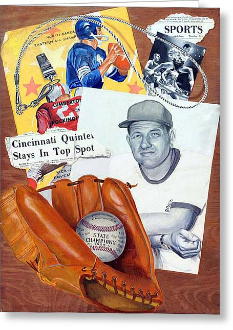 Baseball Gloves Paintings Greeting Cards - Glory Days Greeting Card by Harry West