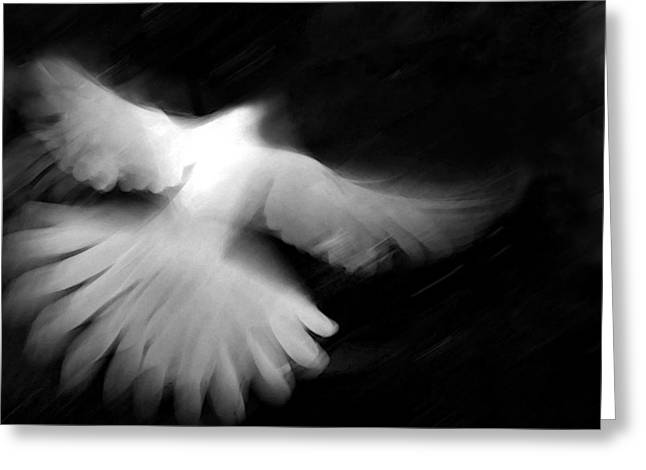 Black White Spiritual Angel Art Greeting Cards - Glory Greeting Card by Glennis Siverson