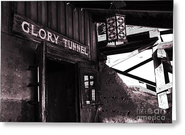 Touristy Greeting Cards - Glory Tunnel Mine Entrance in Calico California Greeting Card by Susanne Van Hulst
