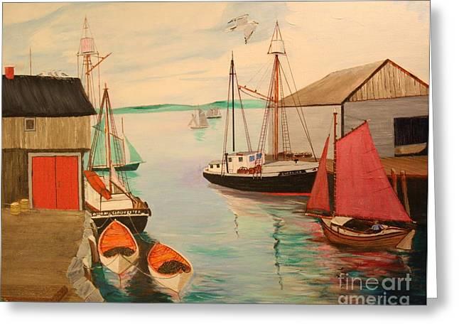 Bill Hubbard Greeting Cards - Gloucester Harbor - Mackerel Seiners 1933 Greeting Card by Bill Hubbard