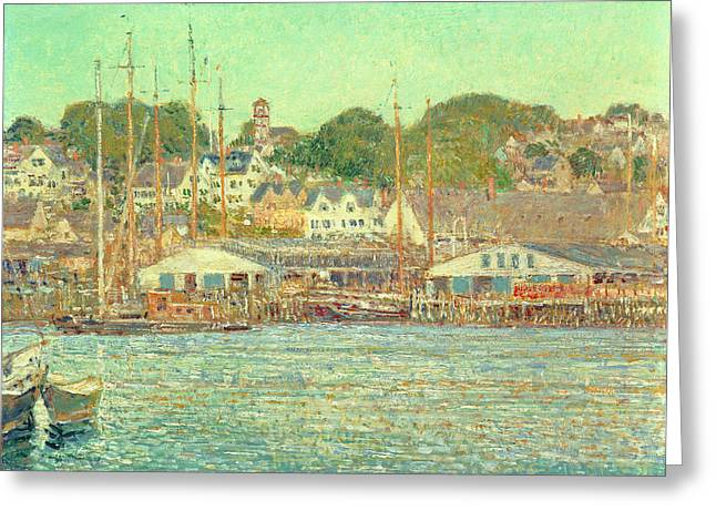 Green Boat Greeting Cards - Gloucester Harbor Greeting Card by Childe Hassam