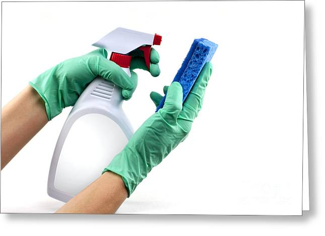 Gloved hands with sponge and cleaning spray Greeting Card by Blink Images