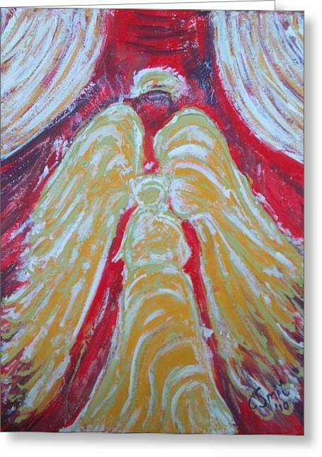 Jesus Reliefs Greeting Cards - Glow Angel Greeting Card by Cecile Smit