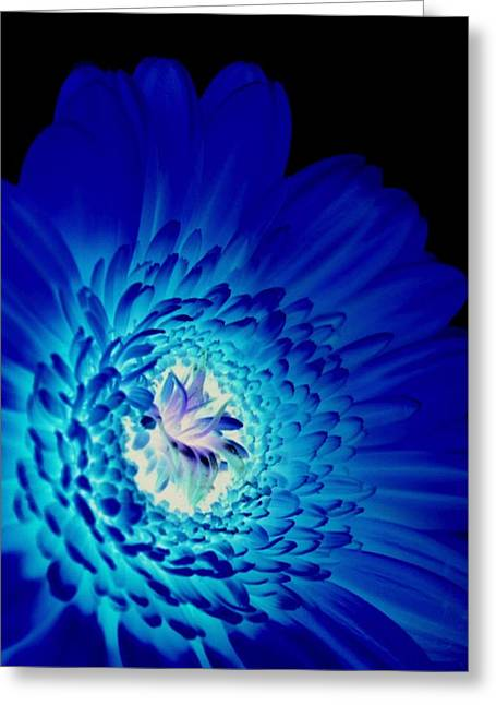 Florescent Lights Greeting Cards - Glow Blue Greeting Card by Lovella Dagum