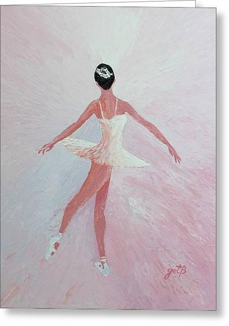 Ballet Dancers Paintings Greeting Cards - Glowing Ballerina original palette knife  Greeting Card by Georgeta  Blanaru