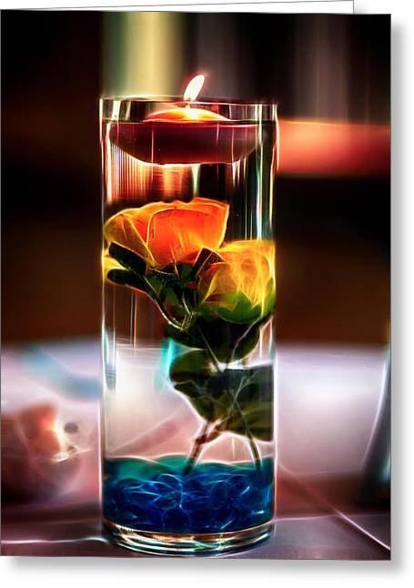 Centerpiece Greeting Cards - Glowing Centerpiece Greeting Card by Bill Tiepelman