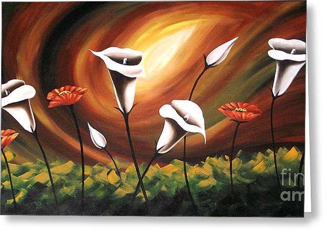 Floral Photographs Paintings Greeting Cards - Glowing Flowers Greeting Card by Uma Devi