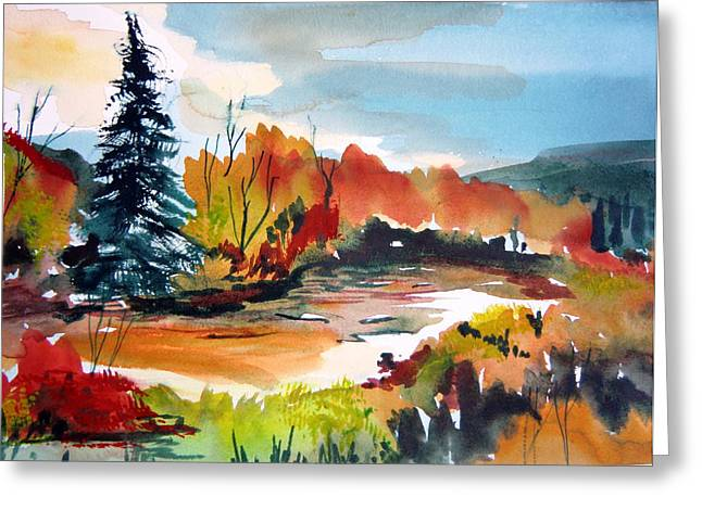 Autumn Landscape Drawings Greeting Cards - Glowing in Autumn Greeting Card by Mindy Newman